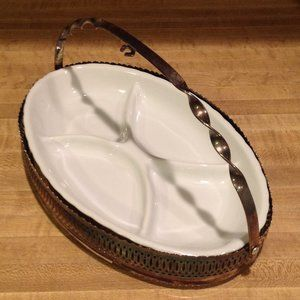 Vintage Milk Glass Dish with Silverplate Caddy